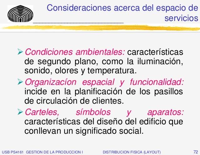 Consideraciones acerca del espacio de              _____________________________    servicios          Condiciones ambient...