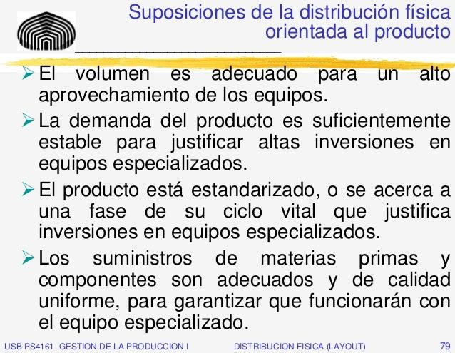 Suposiciones de la distribución física                                      orientada al producto              ___________...
