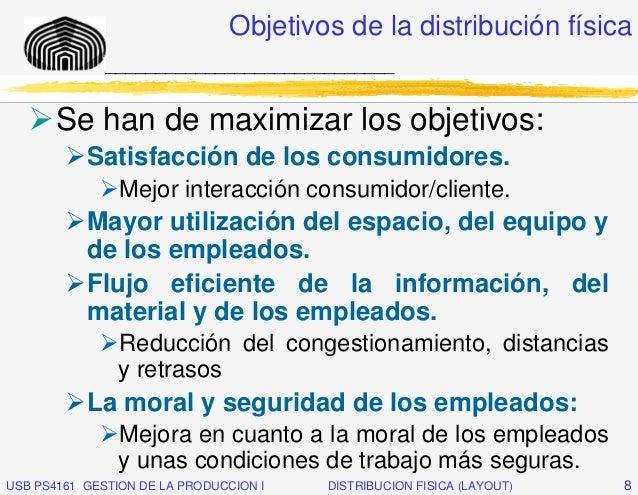 Objetivos de la distribución física              _____________________________       Se han de maximizar los objetivos:   ...