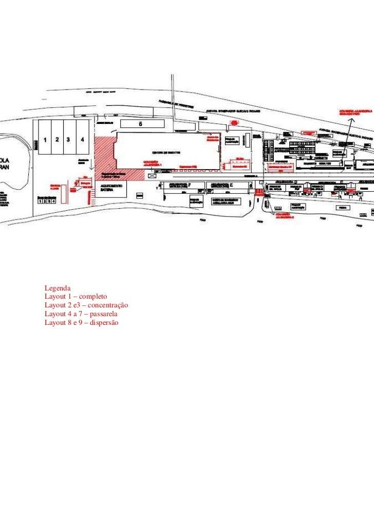 LegendaLayout 1 – completoLayout 2 e3 – concentraçãoLayout 4 a 7 – passarelaLayout 8 e 9 – dispersão