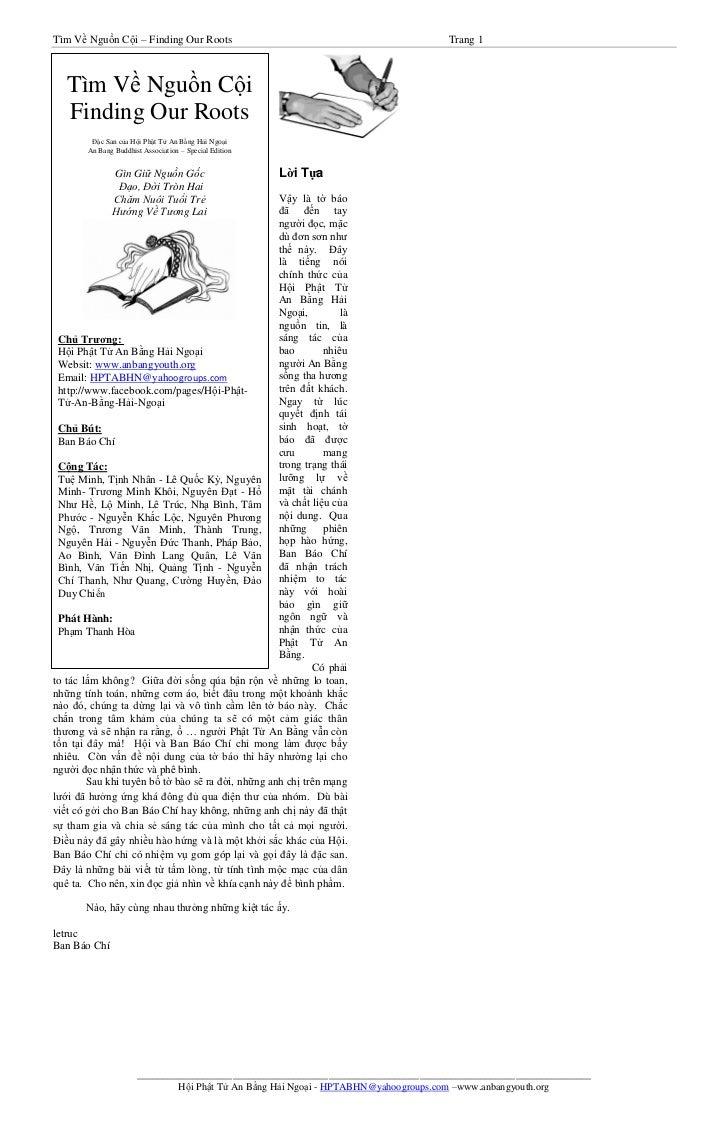 Tìm Về Nguồn Cội – Finding Our Roots                                                Trang 1   Tìm Về Nguồn Cội   Finding O...