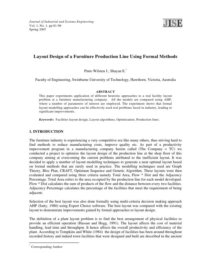 Journal of Industrial and Systems EngineeringVol. 1, No. 1, pp 81-96Spring 2007     Layout Design of a Furniture Productio...