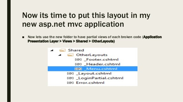 Master Layout creation bootstrap template & Dot Net MVC