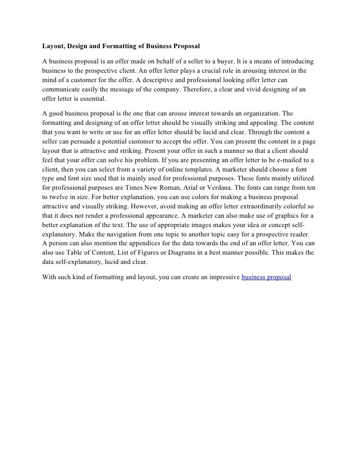 layout design and formatting of business proposal