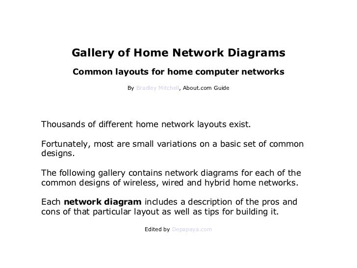 Gallery of Home Network Diagrams Common layouts for home computer networks By  Bradley Mitchell , About.com Guide Thousand...
