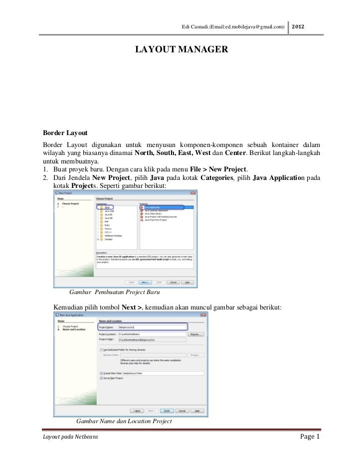 Edi Casnadi.(Email:ed.mobilejava@gmail.com)   2012                               LAYOUT MANAGERBorder LayoutBorder Layout ...