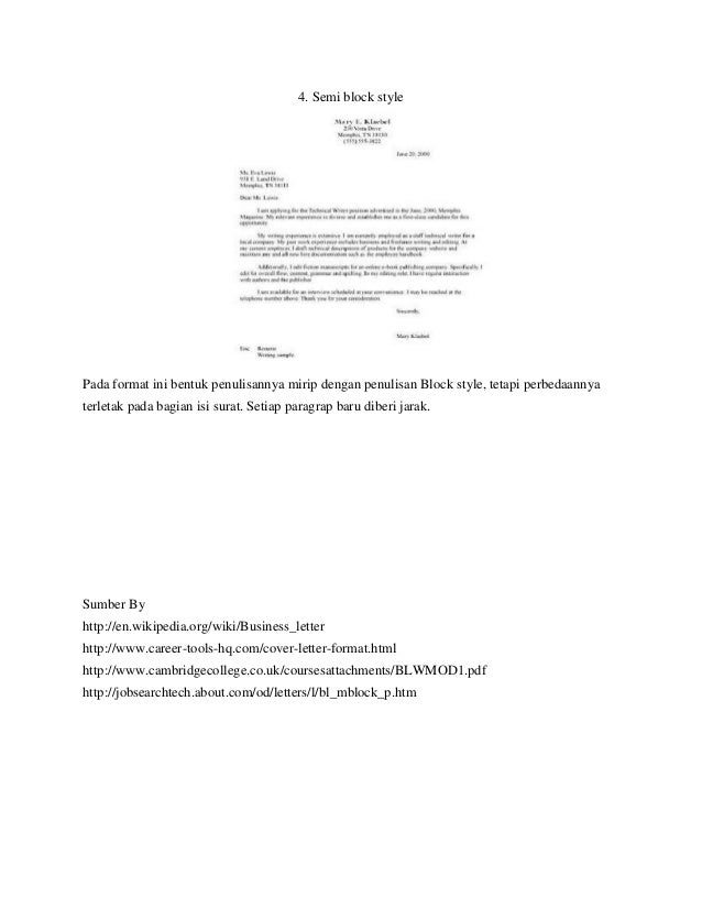 Layout of business english letter 5 4 semi block style altavistaventures Image collections
