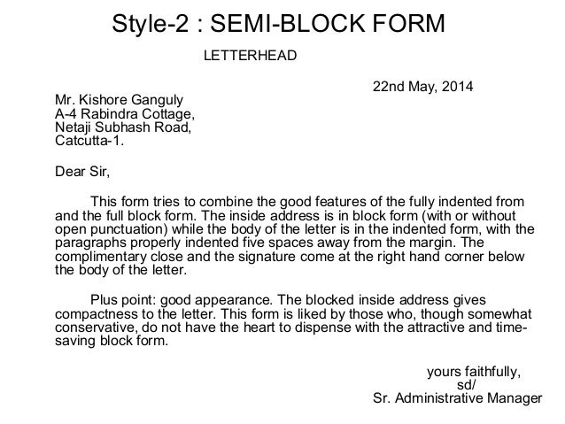 Layout of business letters yours faithfully sd manager 3 style 2 semi block form altavistaventures