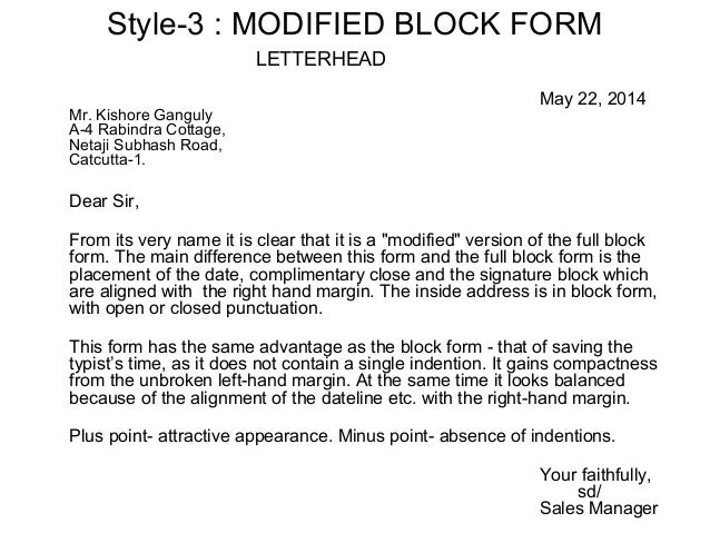 Layout of business letters administrative manager 4 style 3 modified block form altavistaventures