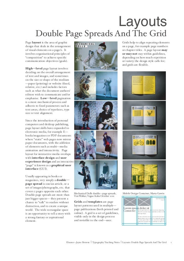 1Eleanor—Jayne Browne | Typography Teaching Notes | Layouts: Double Page Spreads And The Grid Page layout is the area of g...
