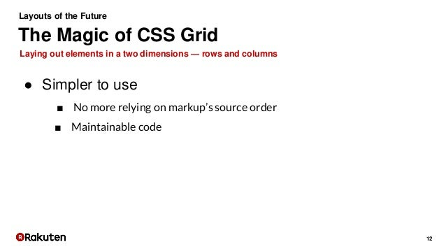 12 Laying out elements in a two dimensions — rows and columns The Magic of CSS Grid Layouts of the Future ● Simpler to use...