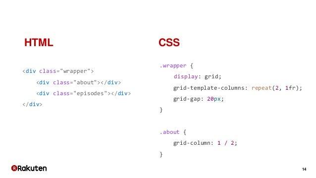 """14 <div class=""""wrapper""""> <div class=""""about""""></div> <div class=""""episodes""""></div> </div> .wrapper { display: grid; grid-temp..."""