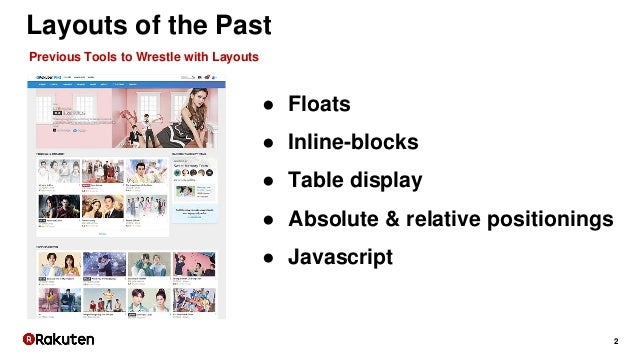 2 Layouts of the Past ● Floats ● Inline-blocks ● Table display ● Absolute & relative positionings ● Javascript Previous To...