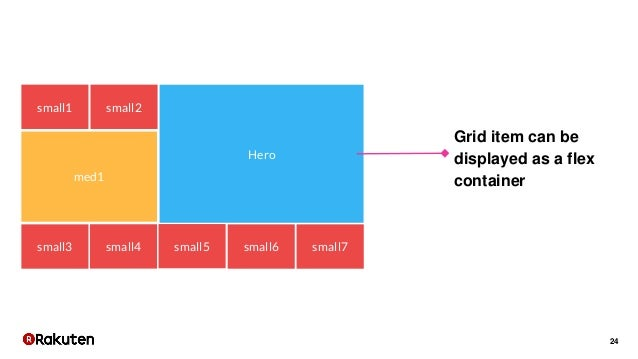 24 Hero small1 small2 small3 small4 small5 small6 small7 med1 Grid item can be displayed as a flex container