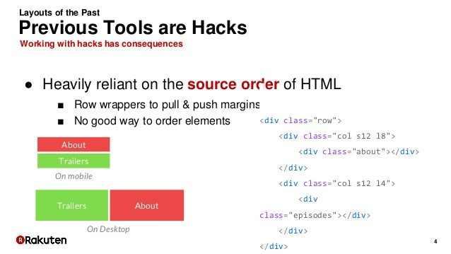 4 Working with hacks has consequences Previous Tools are Hacks Layouts of the Past ● Heavily reliant on the source order o...