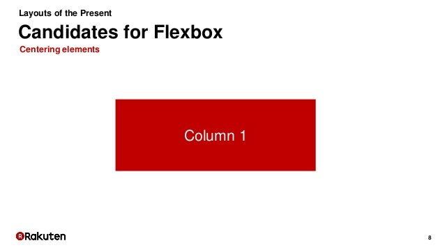 8 Centering elements Candidates for Flexbox Layouts of the Present Column 1