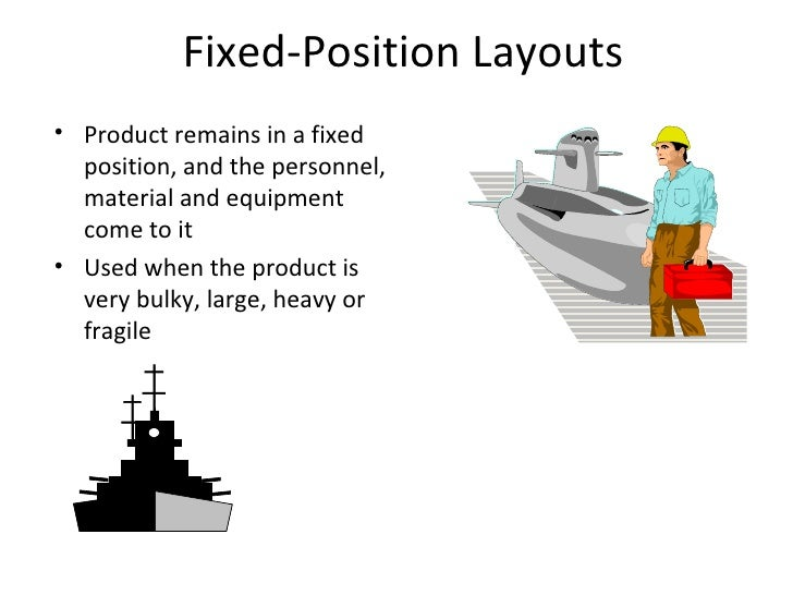Fixed-Position Layouts <ul><li>Product remains in a fixed position, and the personnel, material and equipment come to it <...