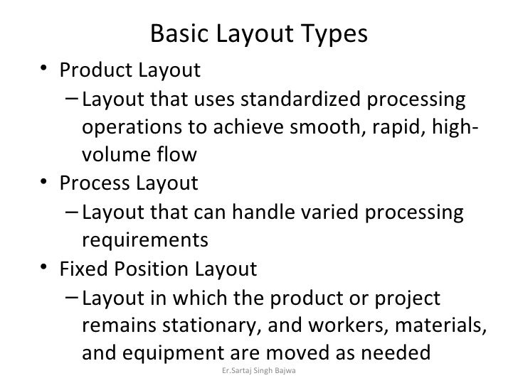 Basic Layout Types <ul><li>Product Layout  </li></ul><ul><ul><li>Layout that uses standardized processing operations to ac...