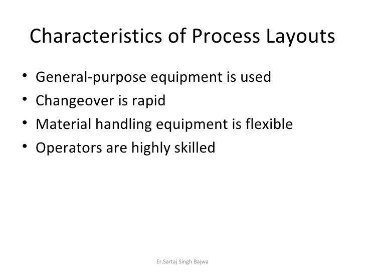 Characteristics of Process Layouts <ul><li>General-purpose equipment is used </li></ul><ul><li>Changeover is rapid </li></...