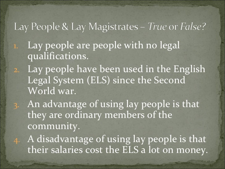 lay personnel jury and magistrates A set of videos to deal with criminal courts and lay people (juries and magistrates.