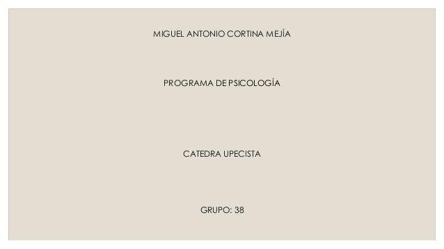 MIGUEL ANTONIO CORTINA MEJÍA  PROGRAMA DE PSICOLOGÍA  CATEDRA UPECISTA  GRUPO: 38