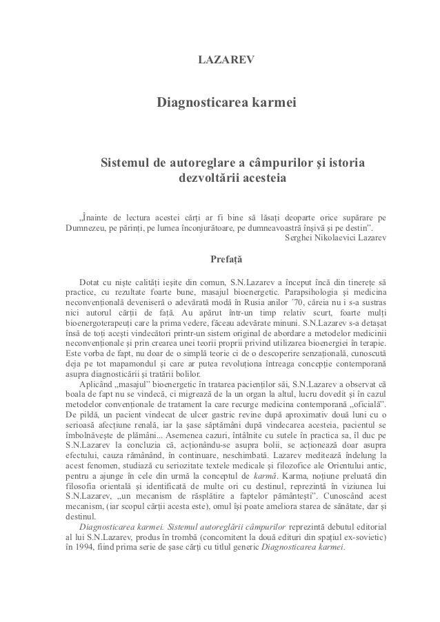 LAZAREV                          Diagnosticarea karmei          Sistemul de autoreglare a câmpurilor şi istoria           ...