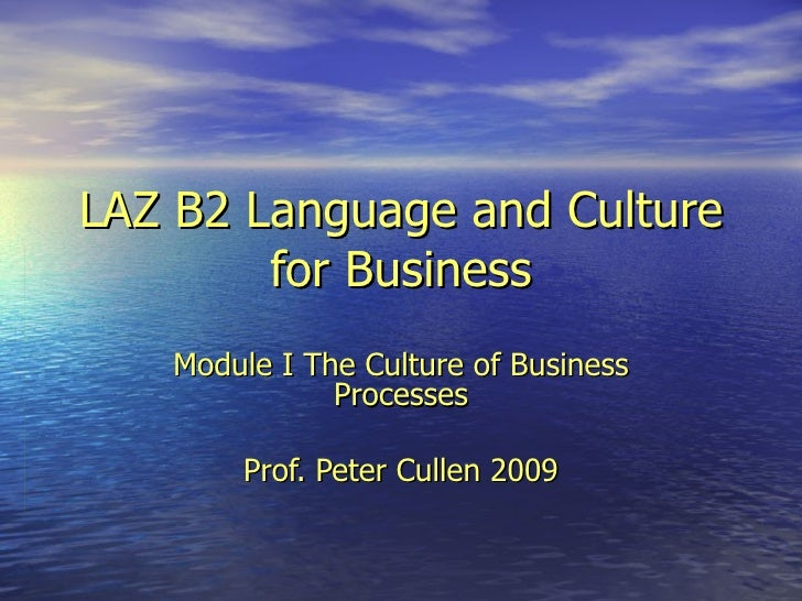 LAZ B2 Language and Culture for Business Module I The Culture of Business Processes Prof. Peter Cullen 2009