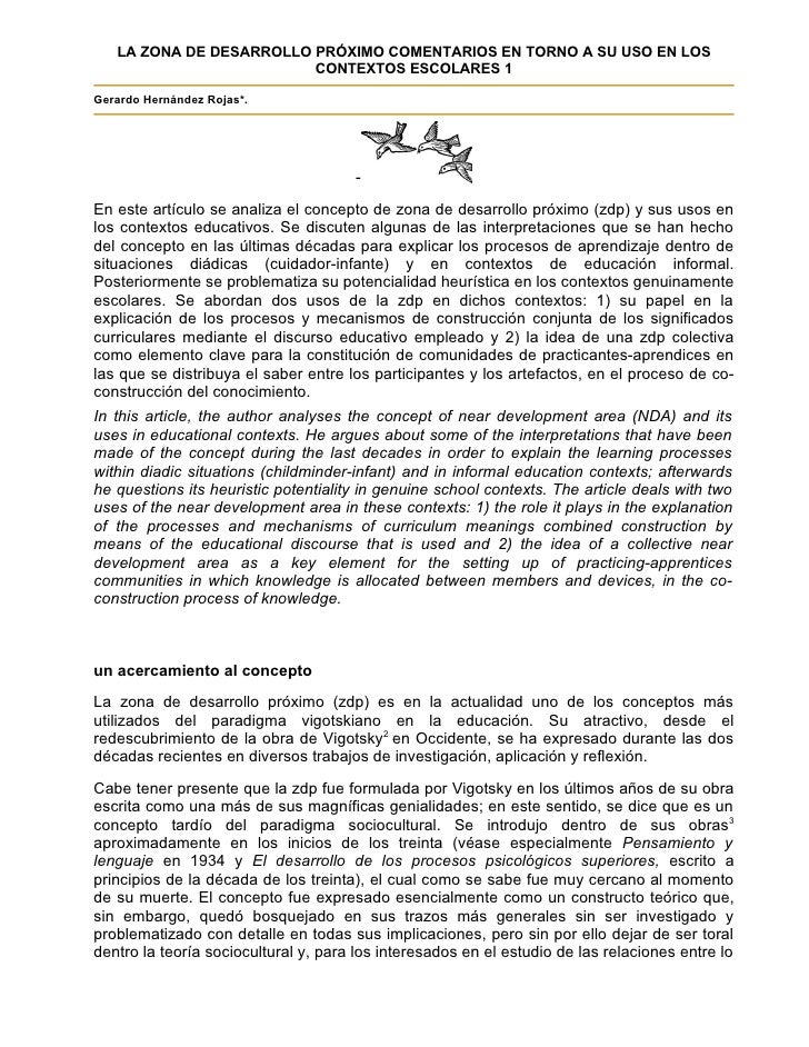 LA ZONA DE DESARROLLO PRÓXIMO COMENTARIOS EN TORNO A SU USO EN LOS                          CONTEXTOS ESCOLARES 1  Gerardo...