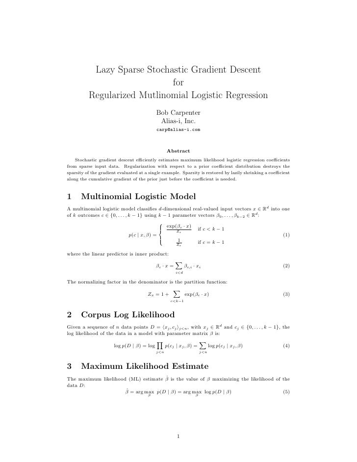 Lazy Sparse Stochastic Gradient Descent                             for          Regularized Mutlinomial Logistic Regressi...