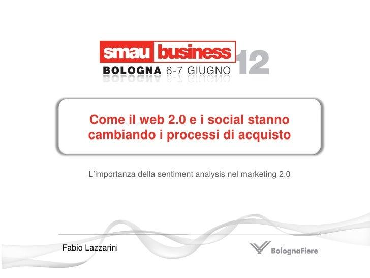 Come il web 2.0 e i social stanno      cambiando i processi di acquisto       L'importanza della sentiment analysis nel ma...