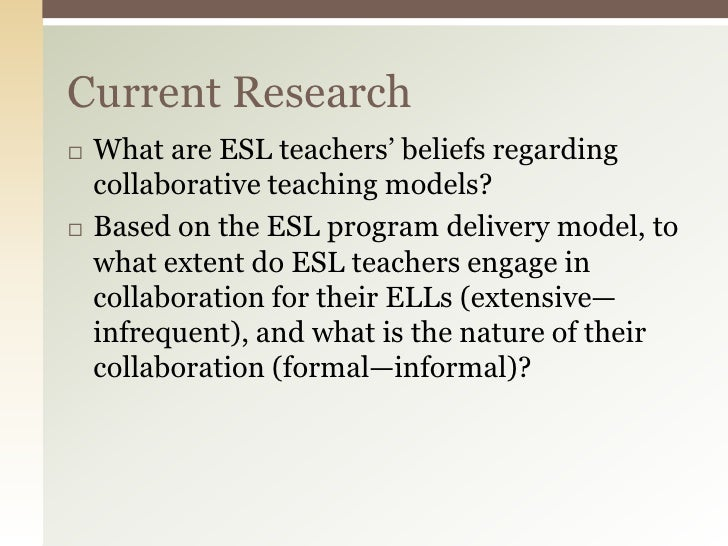 Collaborative Teaching Models : Bell baecher s continuum of collaboration across esl
