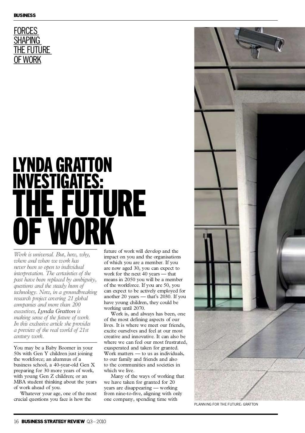 Lynda Gratton investigates the future of work