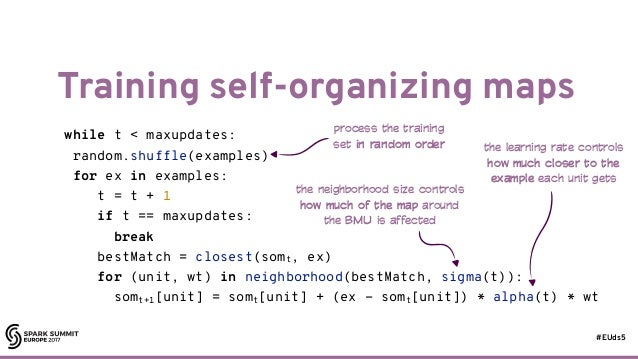#EUds5 Training self-organizing maps 12 while t < maxupdates: random.shuffle(examples) for ex in examples: t = t + 1 if t ...