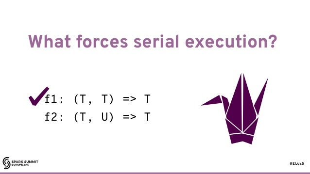 #EUds5 What forces serial execution? 19 f1: (T, T) => T f2: (T, U) => T