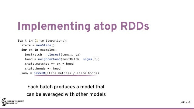 #EUds5 Implementing atop RDDs 27 for t in (1 to iterations): state = newState() for ex in examples: bestMatch = closest(so...