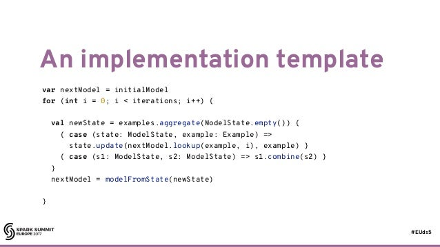 #EUds5 An implementation template 30 var nextModel = initialModel for (int i = 0; i < iterations; i++) { val newState = ex...