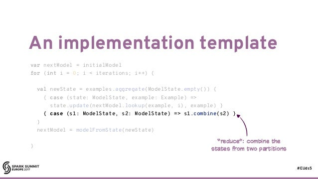 #EUds5 An implementation template 32 var nextModel = initialModel for (int i = 0; i < iterations; i++) { val newState = ex...