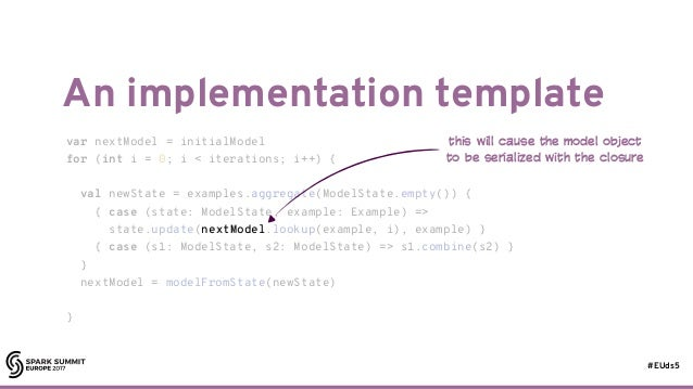 #EUds5 An implementation template 33 var nextModel = initialModel for (int i = 0; i < iterations; i++) { val newState = ex...