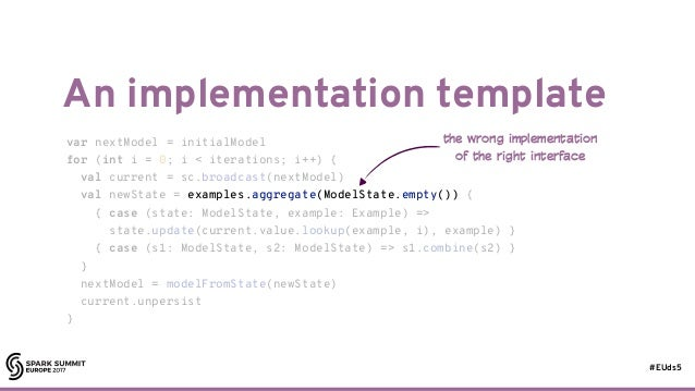 #EUds5 An implementation template 36 var nextModel = initialModel for (int i = 0; i < iterations; i++) { val current = sc....