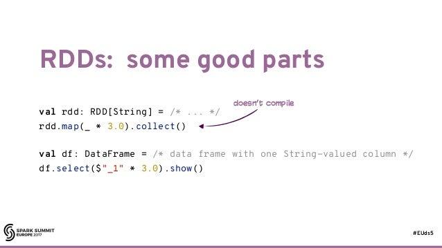 #EUds5 RDDs: some good parts 49 val rdd: RDD[String] = /* ... */ rdd.map(_ * 3.0).collect() val df: DataFrame = /* data fr...
