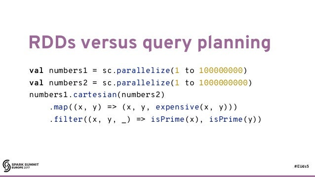 #EUds5 RDDs versus query planning 53 val numbers1 = sc.parallelize(1 to 100000000) val numbers2 = sc.parallelize(1 to 1000...