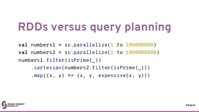 #EUds5 RDDs versus query planning 54 val numbers1 = sc.parallelize(1 to 100000000) val numbers2 = sc.parallelize(1 to 1000...