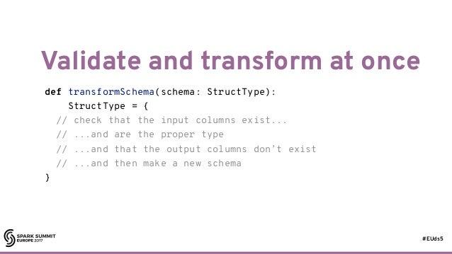 #EUds5 Validate and transform at once 73 def transformSchema(schema: StructType): StructType = { // check that the input c...