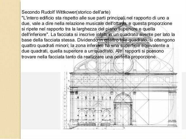 """Secondo Rudolf Wittkower(storico dell'arte) """"L'intero edificio sta rispetto alle sue parti principali nel rapporto di uno ..."""