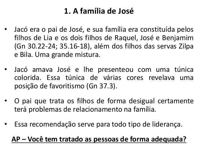 3. Os sonhos de José (Gn 37.7,9). • José teve sonhos com revelações e precipitadamente contou seu sonho a seus irmãos e ao...