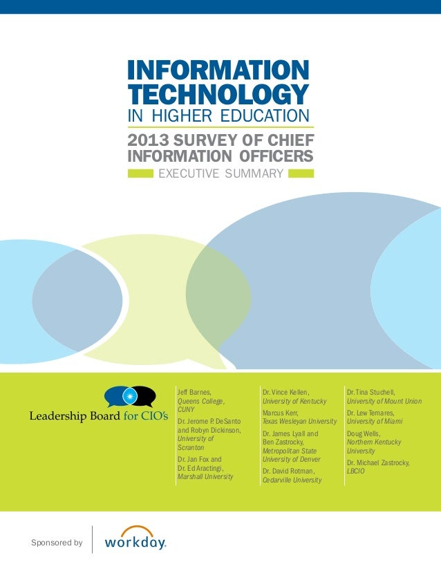 executive summary 2013 survey of chief information officers technology information in higher education Jeff Barnes, Queens...