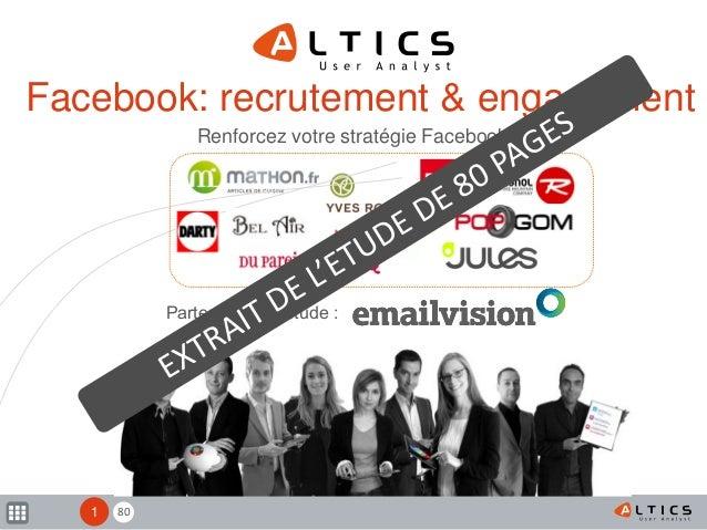 80 Facebook: recrutement & engagement Renforcez votre stratégie Facebook Mars 2012 1 Partenaire de l'étude :