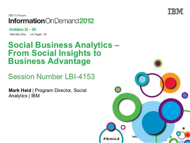 Social Business Analytics –From Social Insights toBusiness AdvantageSession Number LBI-4153Mark Heid | Program Director, S...