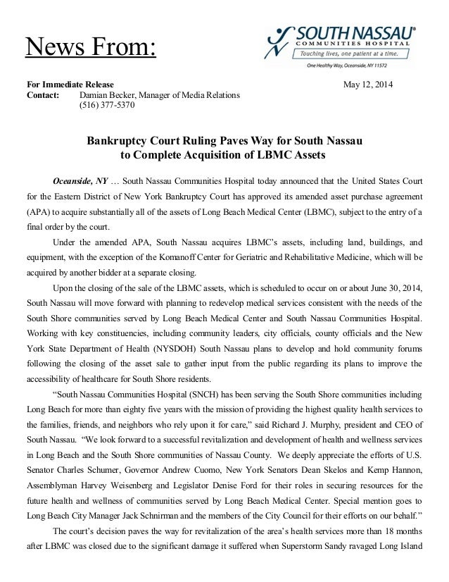 For Immediate Release May 12, 2014 Contact: Damian Becker, Manager of Media Relations (516) 377-5370 Bankruptcy Court Ruli...