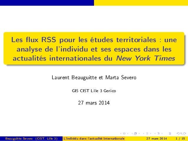 Les ux RSS pour les études territoriales : une analyse de l'individu et ses espaces dans les actualités internationales du...